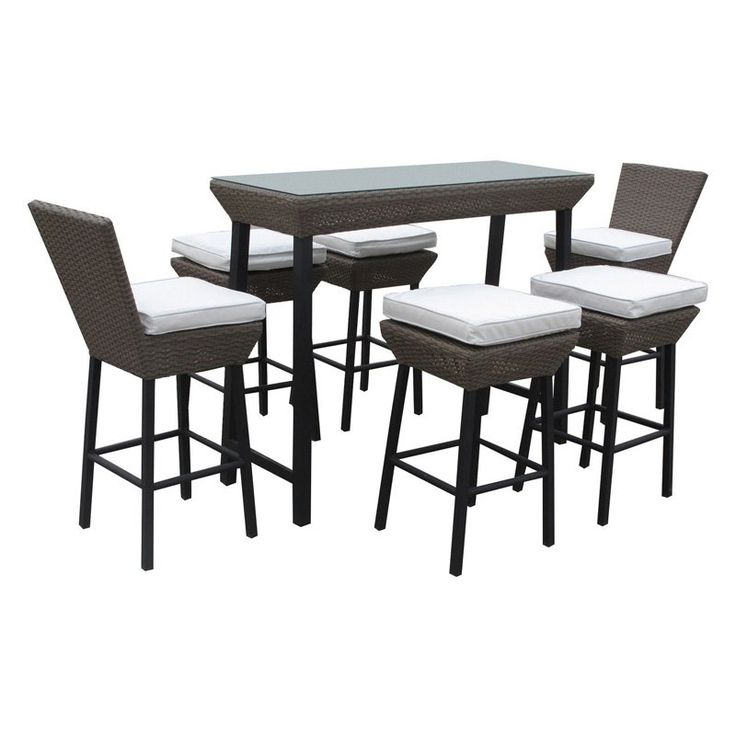 lexmod napa outdoor wicker patio pub table and stools 7 piece set in espresso with white cushions furniture sale pat source bar side