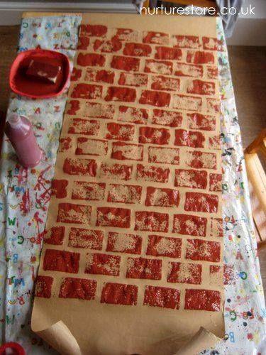 schoorsteen stempelen met verf en schuursponsje