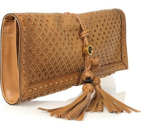 Gucci gold studded leather purse