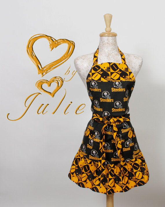 Black and Gold Apron NFL Steelers Black n Gold by apronqueen, $26.95 - I have to have this!!