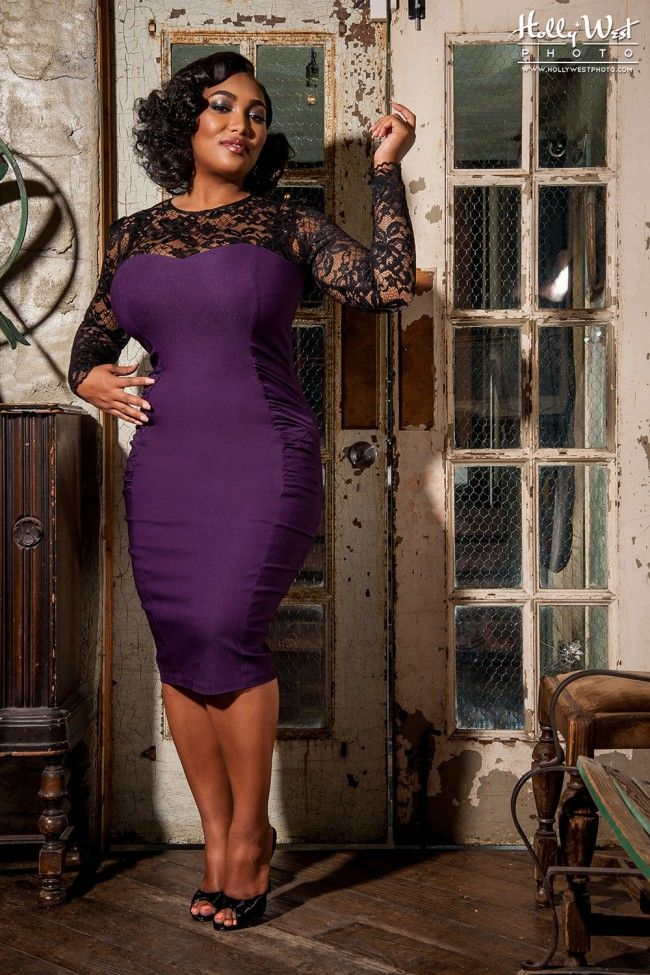 Vintage Goth Pinup Capsule Collection - Delia Dress in Purple - Plus Size