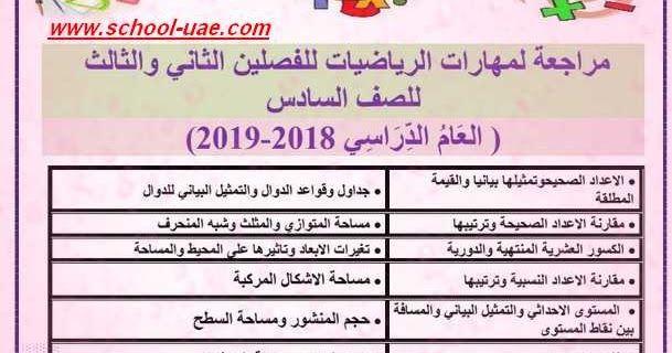 متابعى موقع مدرسة الإمارات ننشر لكم مذكرة مراجعة مهارات مادة الرياضيات للصف السادس الفصل الدراسى الثانى والثالث 2019 وفقا لمنهاج وز Math School Periodic Table
