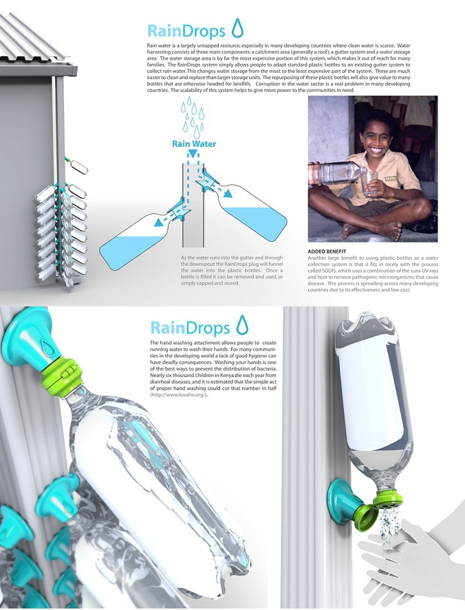 Rain Drop Collector by Evan Gant    - You may not realize that our planet is fairly lack of water.What you see in front of you is a Design for Poverty contest winner, Rain Drops by Evan Gant. This so-called Rain Drops designed for collecting Rain water from the roof. Sure, they are not drinkable, but you can use it to water your garden or washing your hands!     Via: http://www.designrulz.com/product-design/2012/12/rain-drop-collector-by-evan-gant/