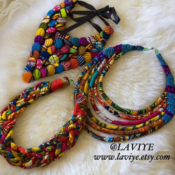 Ankara African print cord braid necklace statement by Laviye