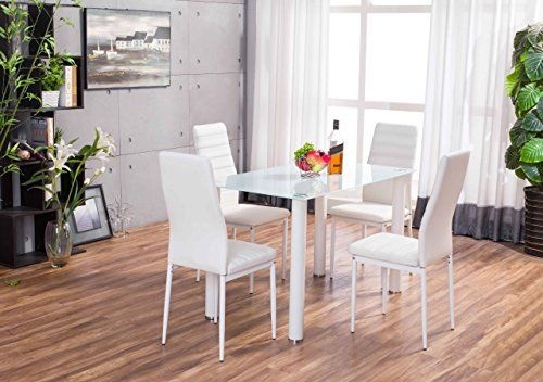 Lunar Rectangle White Glass Dining Table Set and 4 White Faux Leather Chairs Seats---129.99---