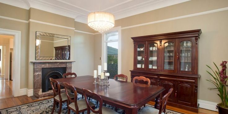 Grand formal dining room with fireplace