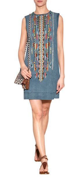 Bright graphic embroidery lends a global look to this cool denim dress from Antik Batik #Stylebop