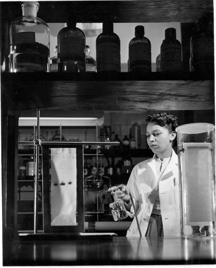 April 1952.  Alma Levant Hayden sprays a reagent on a chromatogram for paper chromatography. After receiving her MS in Chemistry from Howard University she joined Dr. Erich Heftmann's laboratory in the National Institute of Arthritis and Metabolic Diseases (now #NIDDK).  Hayden moved to the Food and Drug Administration #FDA, where she became the chief of the Spectrophotometer Research Branch in 1963.