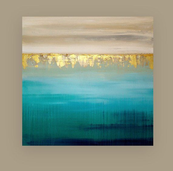 Art, Acrylic Painting, Original Abstract, Beachy, Shabby Chic, Acrylic Paintings on Canvas Ora Birenbaum Titled: Island Getaway 36x48x1.5″