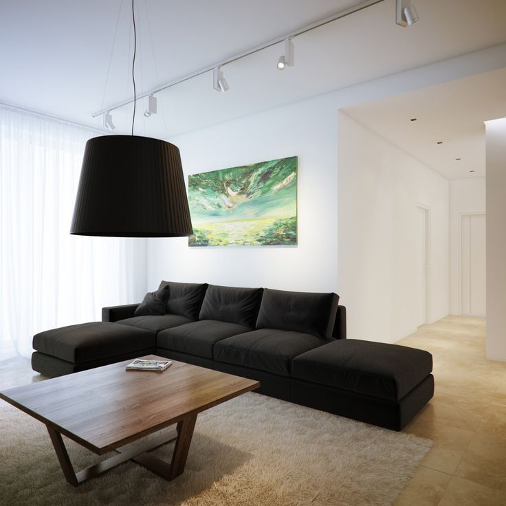 White living room black chaise sofa