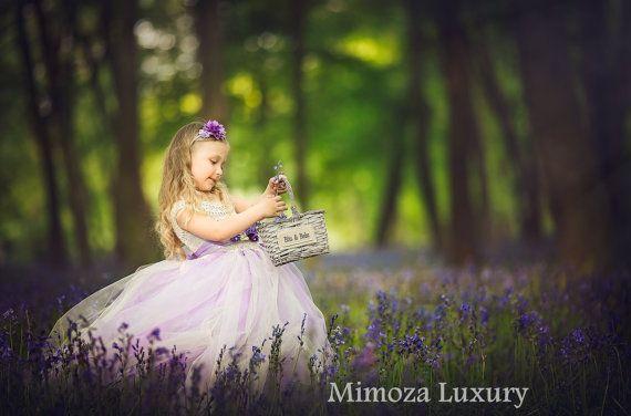 Marfil vestido de la muchacha de flor de lavanda, tutu Vestido de Dama de honor, vestido de princesa, vestido de tul top de ganchillo, punto lila vestido de tutu superior lila