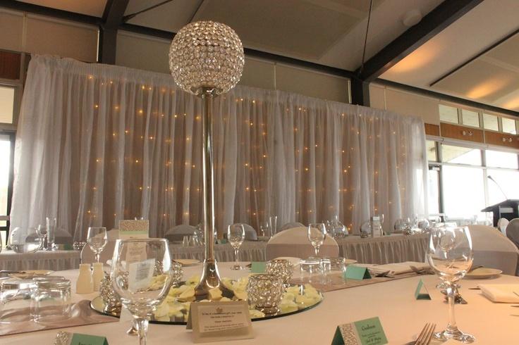 #bridaltablebackdrop #fairylights #Fort Scratchley #crystalcentrepiece