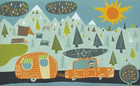 """""""Pierre Fait du Camping"""" in a mid century inspired Canadian wilderness. Previously featured by the Land of Nod."""