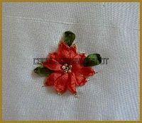 Silk Ribbon Embroidery: Tutorial - Poinsettia in Silk Ribbon