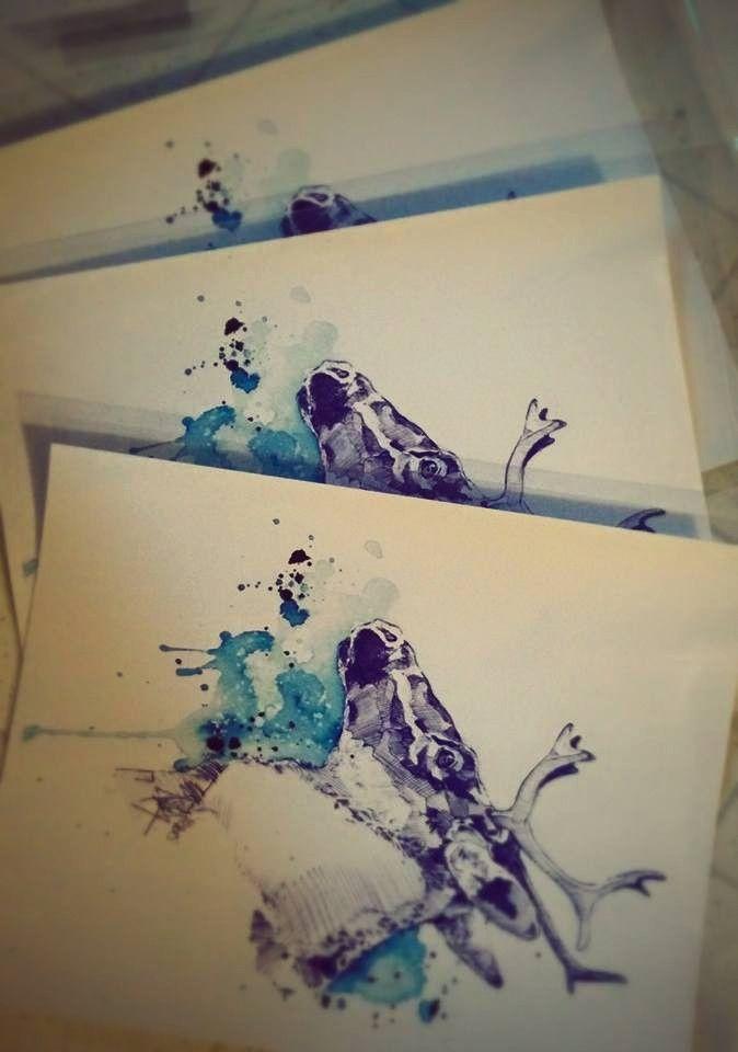 Emballage des impressions numériques de Ciel Boréal - Étude de Caribou 2015. Marie-Eve Arpin - Art sur Facebook ( https://www.facebook.com/MarieEveArpinArt )Pencil Art Watercolor Animal Illustration Caribou Cervidae.
