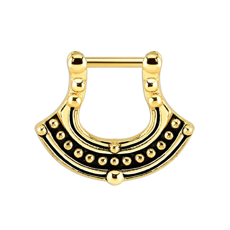 💝🌟🦄🌸 www.throwbackannie.com. 🌸🦄🌟💝 FREE GIFT when you add note 'TBAPIN' to your order! 💝 For ALL your body jewellery needs shop at BRITISH body piercing brand www.throwbackannie.com 🌸 this beautiful athena septum clicker is in a aztec gold colour sure to get you noticed this festival season! worn by celebs like zoe kravtiz at coachella! get inspiration and wear this beautiful septum ring at glastonbury and over the summer!