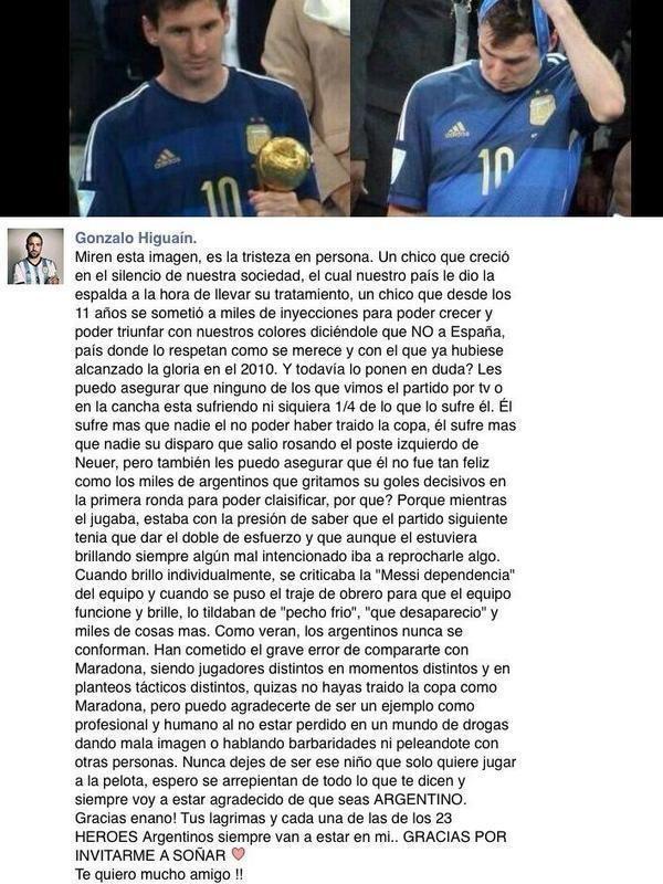La realidad: Higuaín defiende a Messi con conmovedora carta