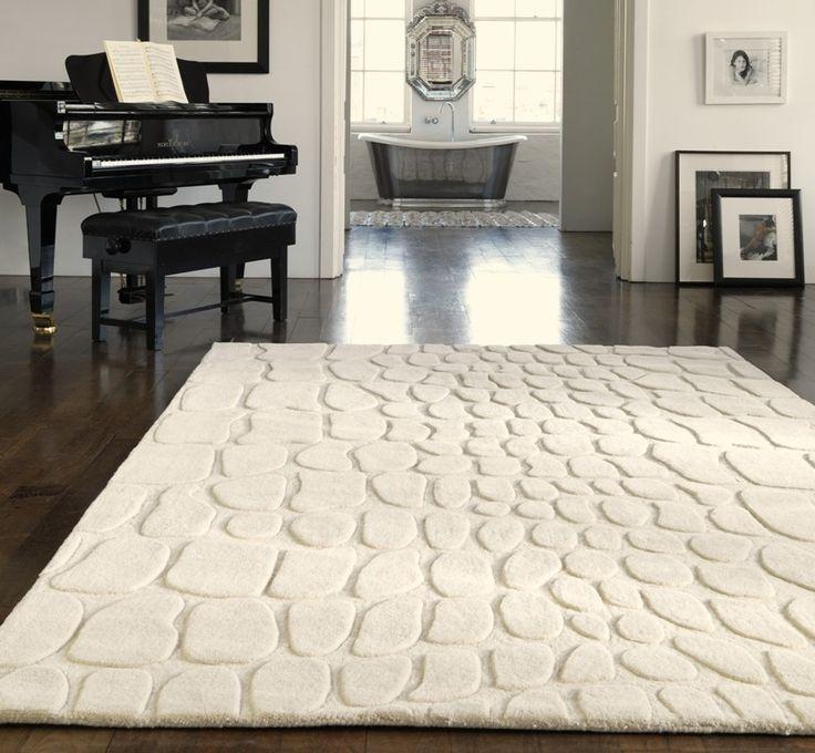 Croco Cream Wool Rugs 120 x 180cm