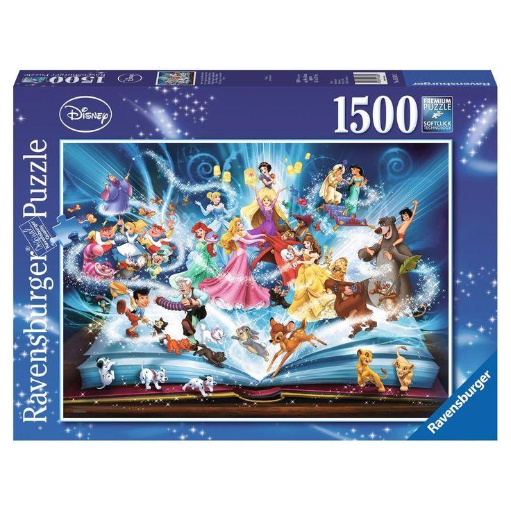 Maak een plaat van je favoriete verhalen uit het magische sprookjesboek van Disney met deze puzzel van Ravensburger. Puzzel de 1500 stukjes aan elkaar en zie je favoriete prinsessen en de karakters uit de andere sprookjesachtige verhalen verschijnen. De plaat is ca. 80 x 60 cm groot. Afmeting: puzzel ca. 80 x 60 cm - Disney Magische Sprookjesboek, 1500st.