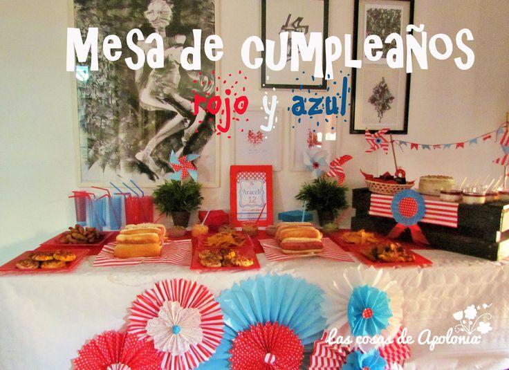 Mesa de cumpleaños para preadolescente en rojo y azul. Teenager Birthday table, blue and red.