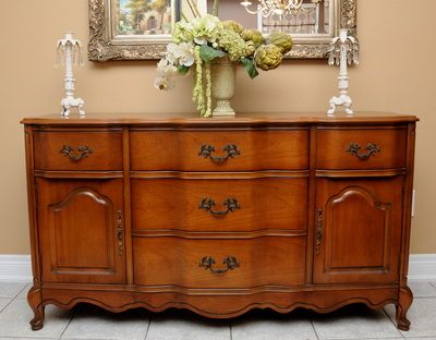 French Provincial Sideboard/buffet Solid Fruitwood Rare Wave Front (1970u0027s
