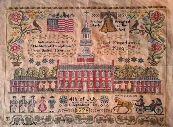 NEW Let Freedom Ring Nashville Market 2017 Lilas Studio cross stitch pattern patriotic USA by thecottageneedle