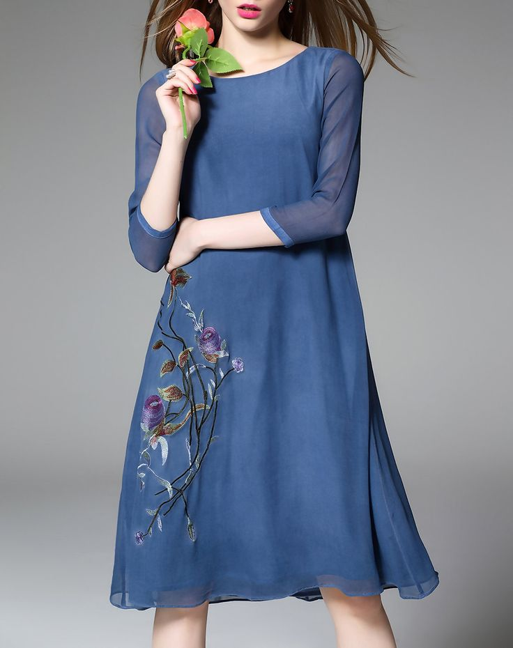#VIPme Blue Silk 3/4 Sleeve Shift Midi Dress ❤ Get more outfit ideas and style inspiration from fashion designers at VIPme.com.