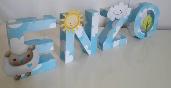 Letras decorativas no tema carneirinho, perfeito para decorar o chá de bebê e também o quartinho!  Tamanho de cada letra: 10 cm (altura) por 7 cm (largura), aproximadamente. Valor por letra. R$ 12,00