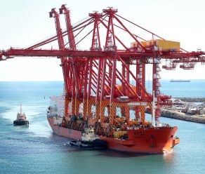 By Sea -- Crane brings lift to Freo port -- Crane ship Zhen Hua 21 arrives at Fremantle 15 May 2013. Picture: Bill Hatto/The West Australian