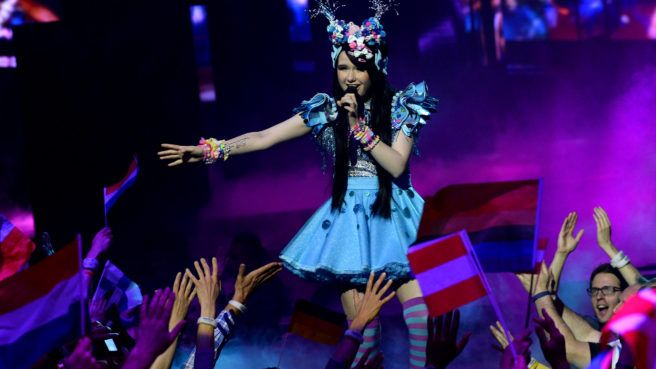 Jamie-Lee representing Germany with the song Ghost performs during the final of the Eurovision Song Contest 2016 Grand Final
