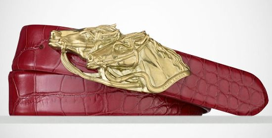 This Italian-made alligator belt adorned with a racehorse buckle is from Ralph Lauren's Chinese New Year collection.  Read more at http://la-confidential-magazine.com/the-latest/style-and-beauty/postings/style-picks-to-celebrate-the-year-of-the-horse#G1kVwPpauDjHdW9g.99