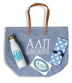 Alpha Delta Pi Bid Day Package #adpi #alphadeltapi www.sassysorority.com #bidday #recruitment #decal #pinpad #waterbottle #stainlesssteel #wreath #monogram #jutetote #gogreek #biddaygift #sassysorority #sororitygifts