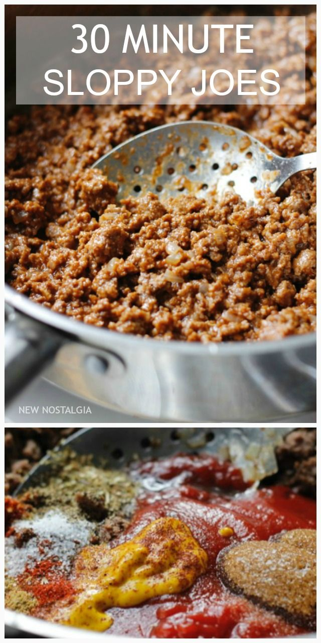 30 Minute Sloppy Joes -- this recipe is THE BEST Sloppy Joe recipe I have tried. It is FAST, delicious & makes the whole family happy.