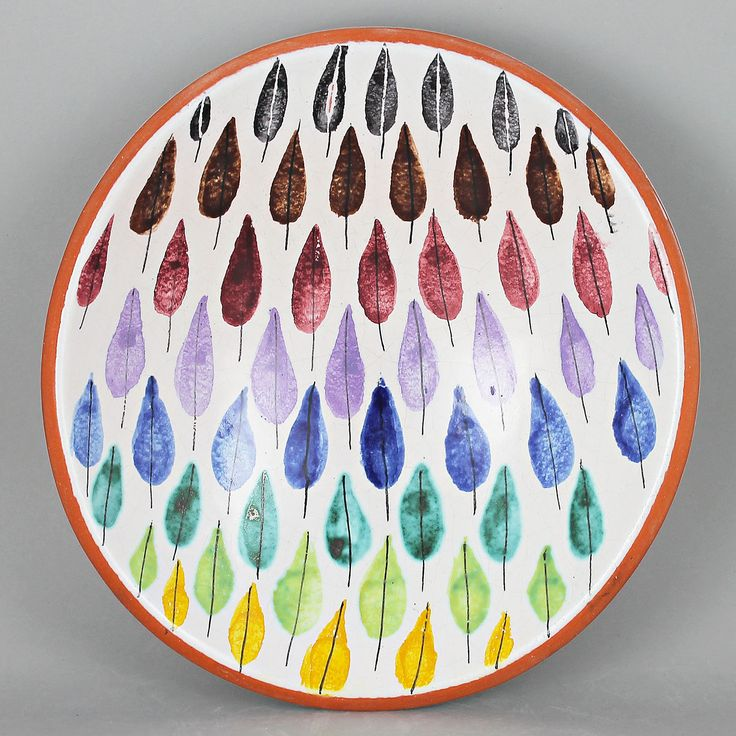 Stig Lindberg (1950s) Polychrome Falling Leaf Faience Bowl