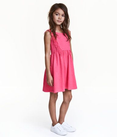 Jerseykleid mit Fransen | Neonrosa | Kinder | H&M DE