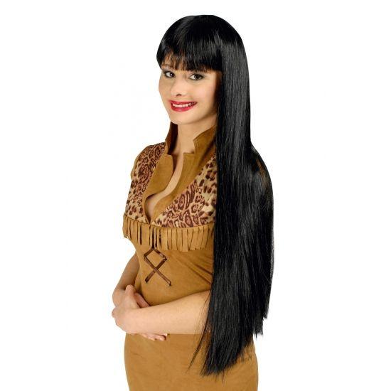 Luxe zwarte pruik met lang haar  Pruik lang zwart haar met pony.  EUR 22.95  Meer informatie