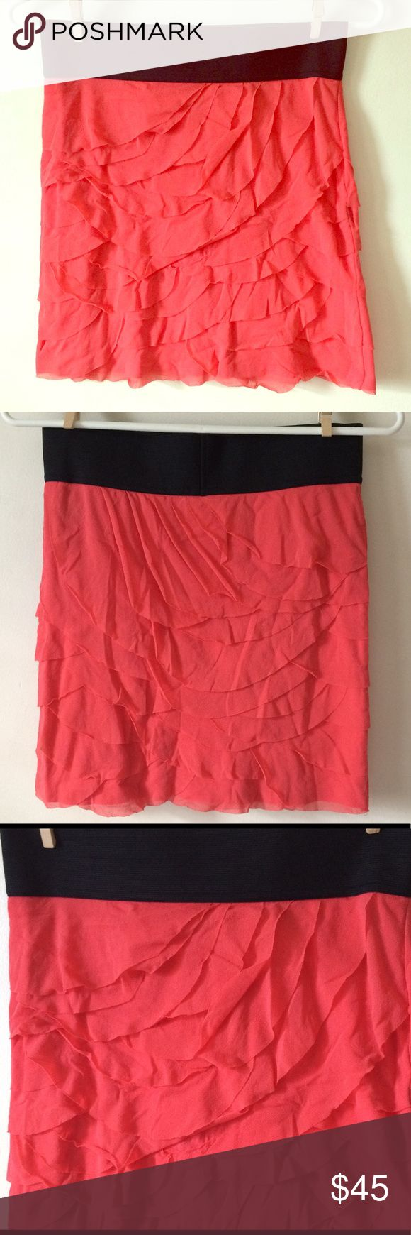 Express ruffled coral mini skirt elastic waist szS Express ruffled coral mini skirt elastic waist szS Excellent condition with no noted flaws like stains rips tears Measurements available on request  M1 Express Skirts Mini