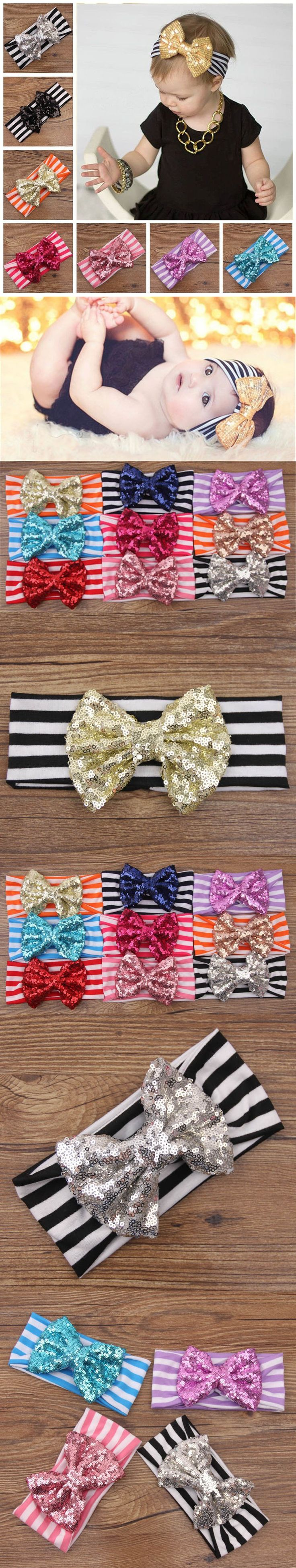 Be best hair accessories for baby - New Fashion Baby Headbands Hair Band Turban Big Bow Baby Hair Accessories Sequined Bow Christmas Child