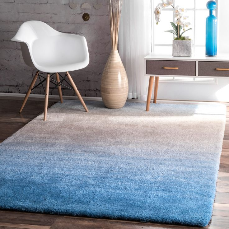 nuLOOM Handmade Soft and Plush Ombre Blue Shag Rug (8' x 10')