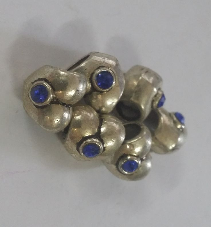 1  Blue Heart Cz Large 5 mm Hole  Beads fit European Jewelry - Only 6 available 53 by Adawnstyle on Etsy