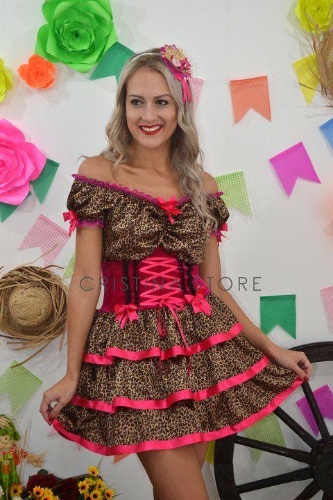 Vestido Oncinha/Pink - Caipira Chic - comprar online