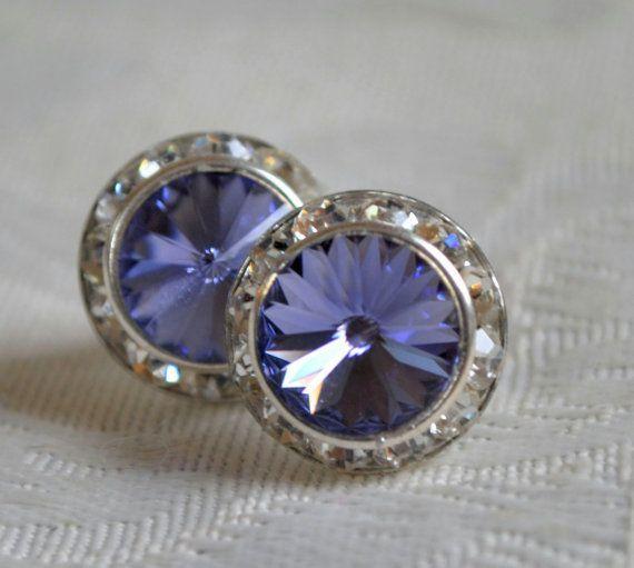 Swarovski  tanzanite crystal earrings 16mm by CreativityAtPlay, $18.00