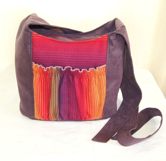 Kangala Bag Babywearing Autumn Purple Tote Bag with Rainbow Girasol on Etsy, $49.00