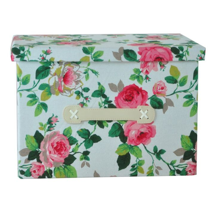 Free shipping Clothing and toy big size makeup organizer basket canvas with red rose painting folding storage box container
