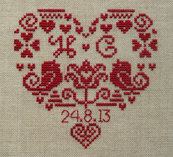 Bought this design of etsy. Made it in deep red thread on cream aida for both my parents and my in-laws on the occasion of their 40th (ruby) wedding anniversary.
