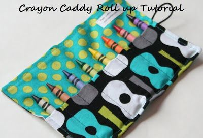 Very easy tutorial Two Little Monkies: Sewing Tutorial : Crayon Roll w/ Button and Elastic (Crayon Caddy)