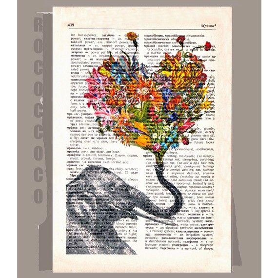 Decorative art Elephant with Flowers Wall decor por RococcoCo