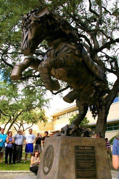 Old Alamo Heights Neighborhood.This is the statue of the Alamo Heights High School Mascot,Caldonia the Mule.