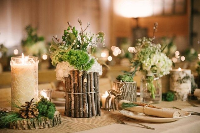 DIY-friendly wood tabletop ideas. | Taylor and Joshua's Woodland Deer-Themed Wedding via Love Inc. | photo by Allie Siarto Photography #rusticwedding #diywedding #barnwedding