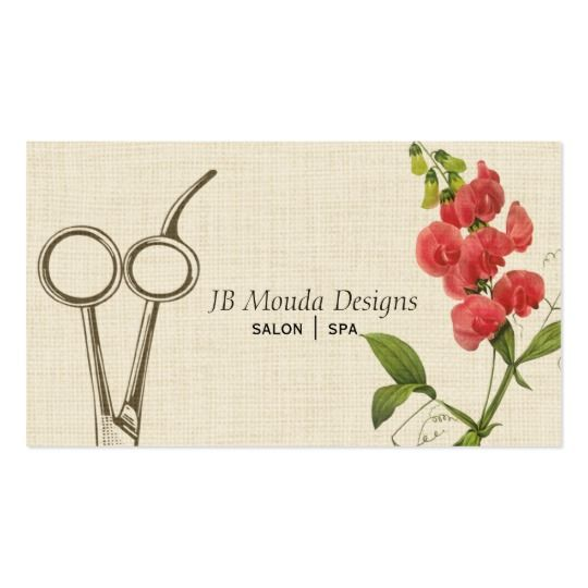 Vintage Floral Hair Stylist Shears Scissors Business Card